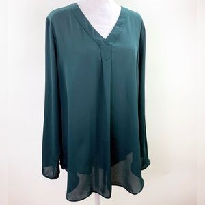 Apt 9 Flowing Sheer Green Tunic Blouse Pullover XL